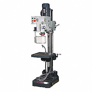 "2 Motor HP Floor Drill Press, Geared Head Drive Type, 22"" Swing, 240 Voltage"