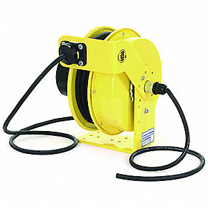 Yellow Constant Tension Cord Reel, 20 Max. Amps, Cord Ending: Flying Lead, 50 ft. Cord Length