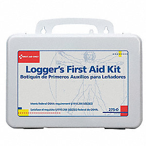 First Aid Kit, Kit, Plastic Case Material, Loggers, 15 People Served Per Kit