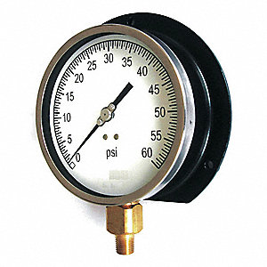 "Pressure Gauge, Process Gauge Type, 0 to 300 psi Range, 4-1/2"" Dial Size"