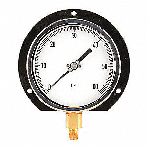 "4-1/2"" Process Pressure Gauge, 0 to 60 psi"