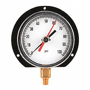 Pressure Gauge,Max. Reading,4-1/2 In