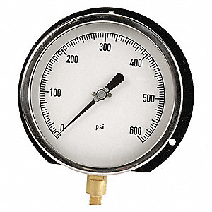 Pressure Gauge,Process,6 In,0-600psi