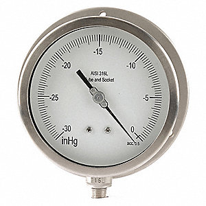 "4-1/2"" Process Vacuum Gauge, -30 to 0 In. Hg"