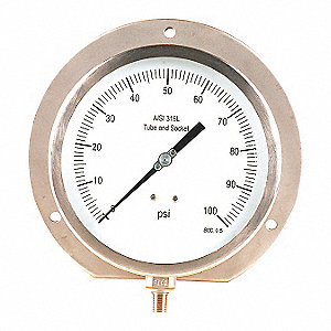 "6"" Process Pressure Gauge, 0 to 100 psi"