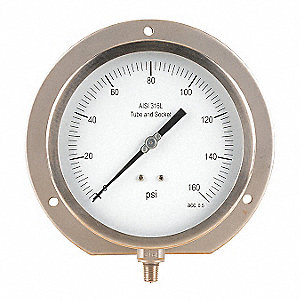 "6"" Process Pressure Gauge, 0 to 160 psi"