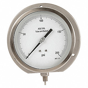 "6"" Process Pressure Gauge, 0 to 200 psi"