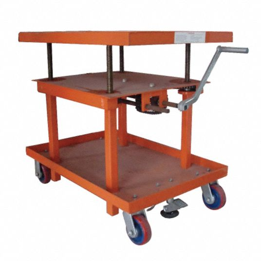 Dayton Precise Positioning Manual Mobile Post Lift Table 2 000 Lb Load Capacity 48 In X 30 In 11a565 11a565 Grainger