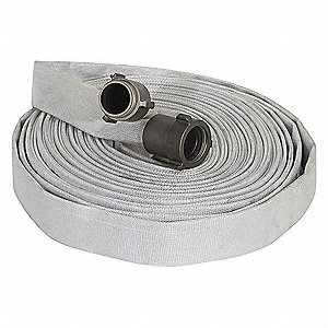 "Wildland Fire Hose, Single Jacket, 1-1/2"" Hose Inside Dia., 100 ft., White"