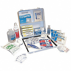 First Aid Kit, Kit, Steel Case Material, General Purpose, 25 People Served Per Kit