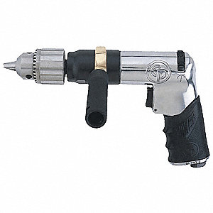 "0.5 HP Industrial Duty Keyed Air Drill, Pistol Style, 1/2"" Chuck Size"