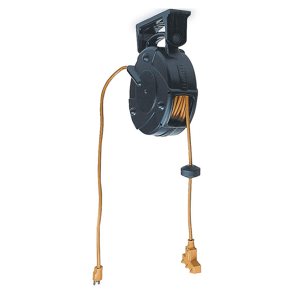 Lumapro Cord Reel 50 Ft Extension Reels Gge6yf68 6yf68 Retractable W Circuit Breaker