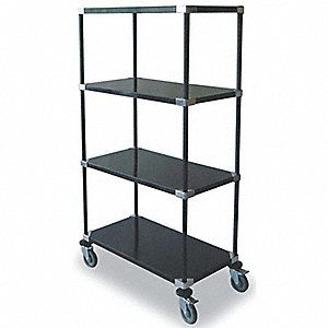 High Cart,HD,Blk,4 Solid Shelf,36x18x69