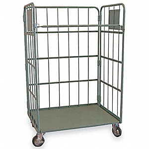 Stock Cart With 3-Sides,1100 lbs.,Gray
