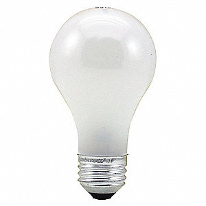 60 Watts Incandescent Lamp, A19, Medium Screw (E26), 600 Lumens, 2800K Bulb Color Temp., 1 EA