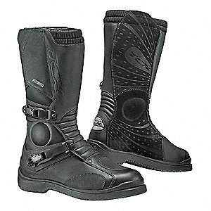 "12""H Men's Motorcycle Boots, Plain Toe Type, Leather Upper Material, Black, Size 12-1/2"