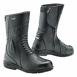 "9""H Men's Motorcycle Boots, Plain Toe Type, Leather Upper Material, Black, Size 11"