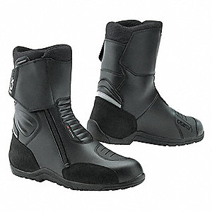 "8""H Men's Motorcycle Boots, Plain Toe Type, Leather and Microfiber Upper Material, Black, Size 8-1/2"