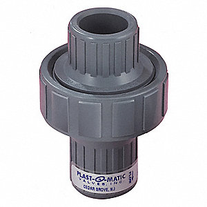 "1/2"" Check Valve, PVC, FNPT Connection Type"