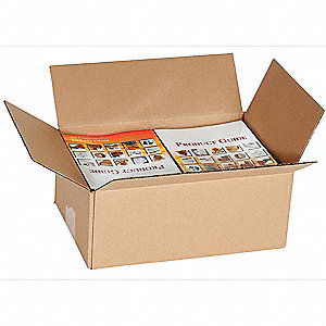 "Shipping Carton, Kraft, Inside Width 8"", Inside Length 11"", Inside Depth 4"", 65 lb., 1 EA"