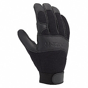 Leather Mechanics Gloves, Goatskin Leather Palm Material, Black, L, PR 1