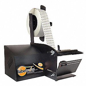 "Automatic Label Dispenser, Black, 3"" Core Dia., Stainless Steel and Aluminum"