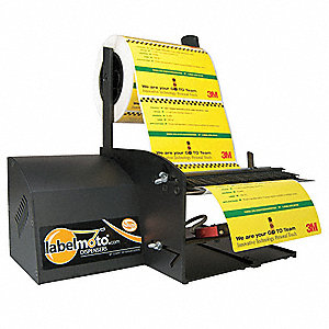 "Electric Label Dispenser, Black, 1"" and 3"" Core Dia., Anodized Alluminum"