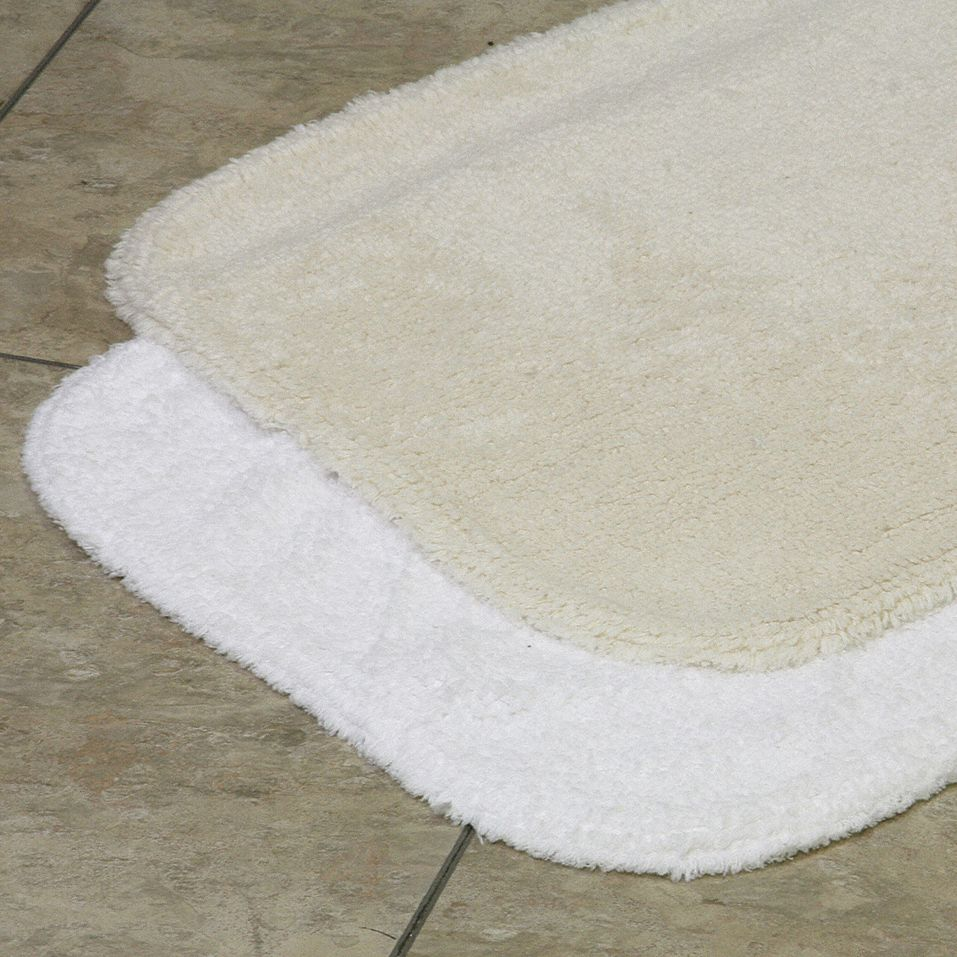 Bath Rug,  Essence,  17 in Width,  24 in Length,  White,  Cotton