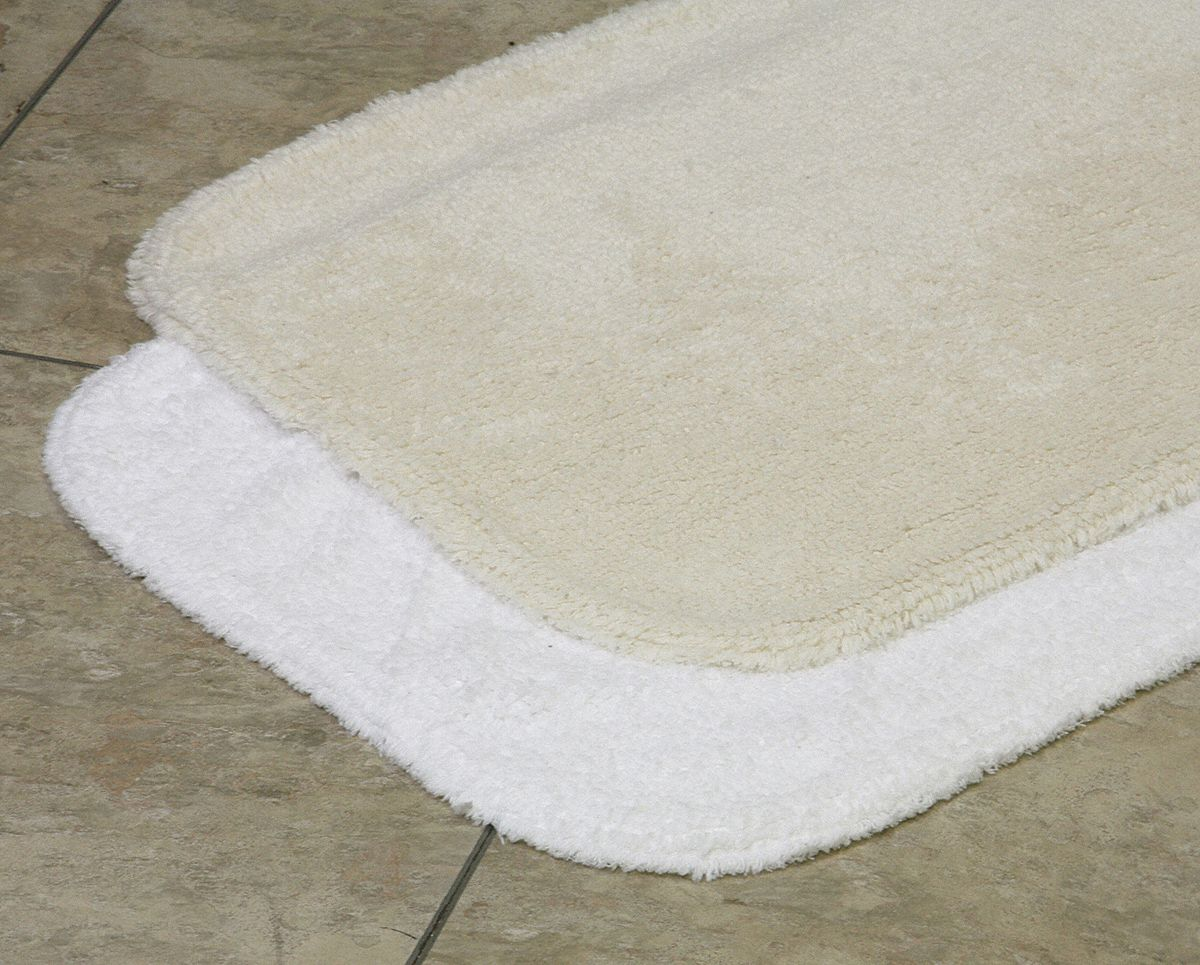 Bath Rug,  Essence,  21 in Width,  34 in Length,  White,  Cotton