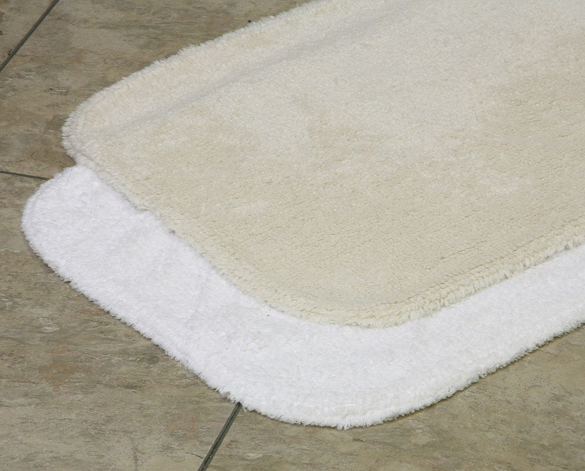 Bath Rug,  Essence,  24 in Width,  36 in Length,  White,  Cotton