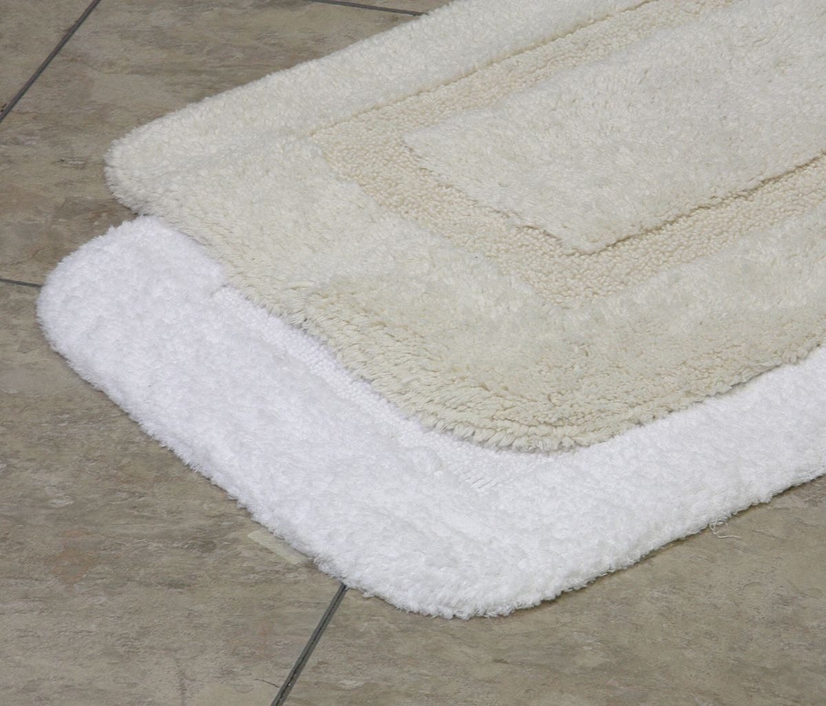 Bath Rug,  Elite Loop,  21 in Width,  34 in Length,  White,  Cotton