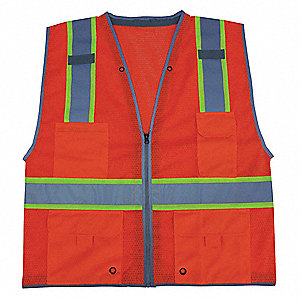 Orange/Red with Silver Stripe High Visibility Vest, ANSI 2, Zipper Closure, XL