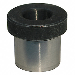 "Head Press Fit Drill Bushing, 0.129"", I.D. 1/4"", O.D., #30: Drill Size"