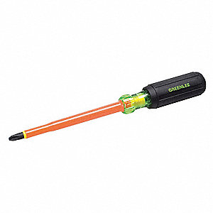 "Steel Insulated Screwdriver with 6"" Shank and #3 Standard Tip"