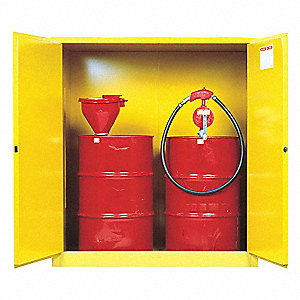 VERTICAL DRUM SAFETY CABINET,55 GAL,YLW