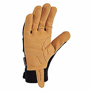 Leather Mechanics Gloves, Synthetic Leather Palm Material, Black/Barley, L, PR 1