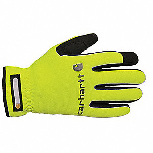 Leather Mechanics Gloves, SyntheticWater Repellant Palm Material, High Visibility Lime, L, PR 1
