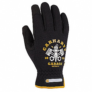 Leather Mechanics Gloves, SyntheticWater Repellant Palm Material, Black, XL, PR 1
