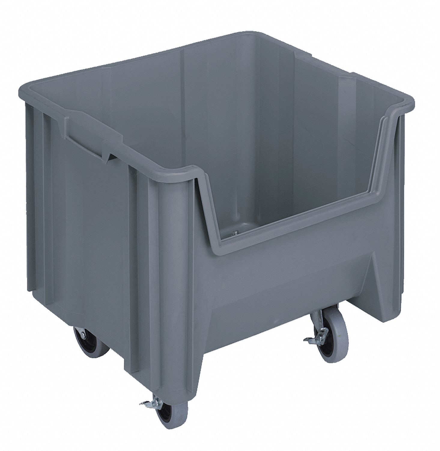 Mobile Hopper Bin, Gray, 15-3/4