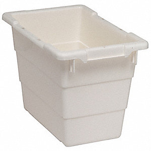 "Cross Stacking Container, White, 12""H x 17-1/4""L x 11""W, 1EA"