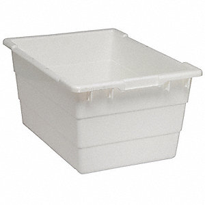 "Cross Stacking Container, White, 12""H x 23-3/4""L x 17-1/4""W, 1EA"
