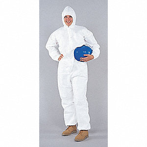 COVERALLS GP W/HOOD WHITE MEDIUM