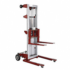 "Invertible Fork Straddle Lift, 350 lb., Lifting Height Forks Up 142"", Lifting Height Forks Down 120"""