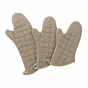 "15"" Cotton Oven Mitt, Flame Retardant , Tan"