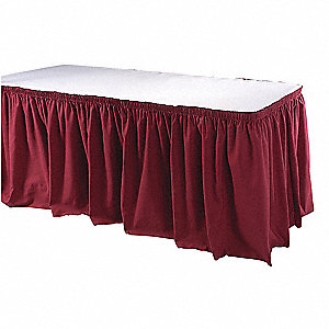 "13 ft. x 29"" Hook-and-Loop Table Skirt, Burgundy"