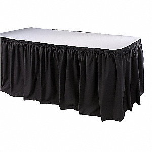 "21-1/2 ft. x 29"" Hook-and-Loop Table Skirt, Black"