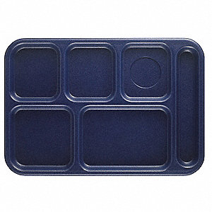 Tray,w/ Compartments,10x14,Navy Blue
