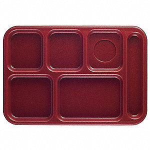 Tray, w/ Compartments, 10x14, Cranberry