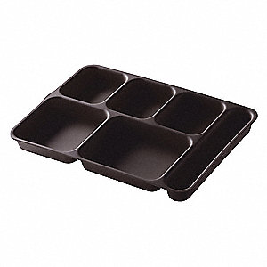 Tray,w/ Compartments,9-7/8x14,Brown
