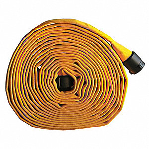 "Supply Line Fire Hose, Double Jacket, 3"" Hose Inside Dia., 100 ft., Yellow"
